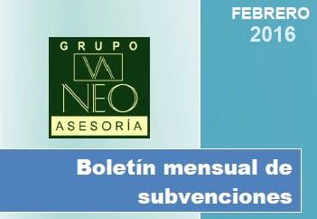 Boletín Subvenciones para empresas y autónomos (febrero 2016)