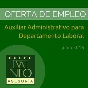 Oferta de empleo: Auxiliar Administrativo para Departamento Laboral