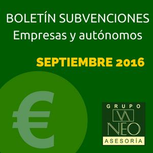 Subvenciones empresas y autónomos Andalucía | SEPTIEMBRE 2016