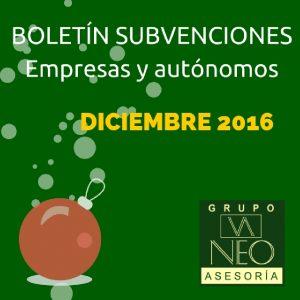 Subvenciones empresas y autónomos Andalucía | DICIEMBRE 2016