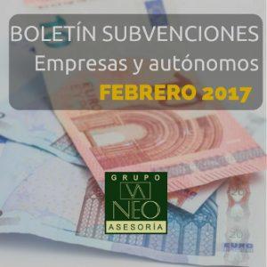 Subvenciones empresas y autónomos Andalucía | FEBRERO 2017