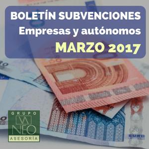 Subvenciones empresas y autónomos Andalucía | MARZO 2017