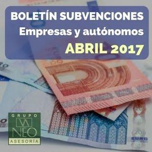 Subvenciones empresas y autónomos Andalucía | ABRIL 2017