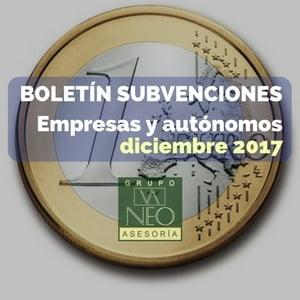 Subvenciones empresas y autónomos Andalucía | DICIEMBRE 2017