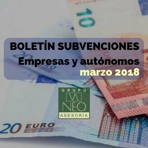 Subvenciones empresas y autónomos Andalucía | MARZO 2018