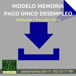 Modelo de Memoria Pago Único Desempleo rellenable