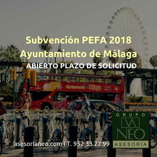 Subvención PEFA 2018 del Ayuntamiento de Málaga