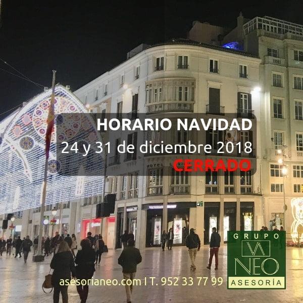 HORARIO NAVIDAD: 24 y 31 de diciembre 2018: CERRADO
