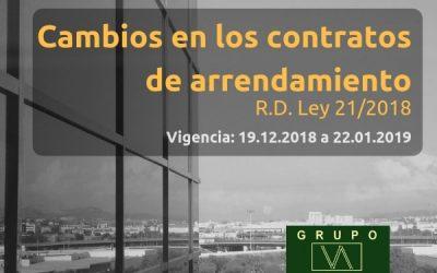 Cambios en los contratos de arrendamiento | R.D. Ley 21/2018