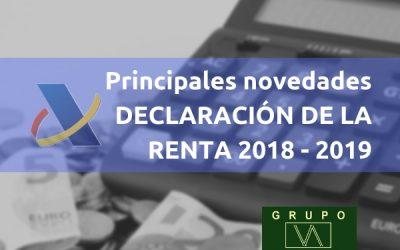 Principales novedades Declaración de la Renta 2018-2019