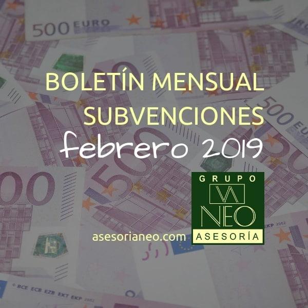 Boletín subvenciones empresas y autónomos Andalucía | FEBRERO 2019
