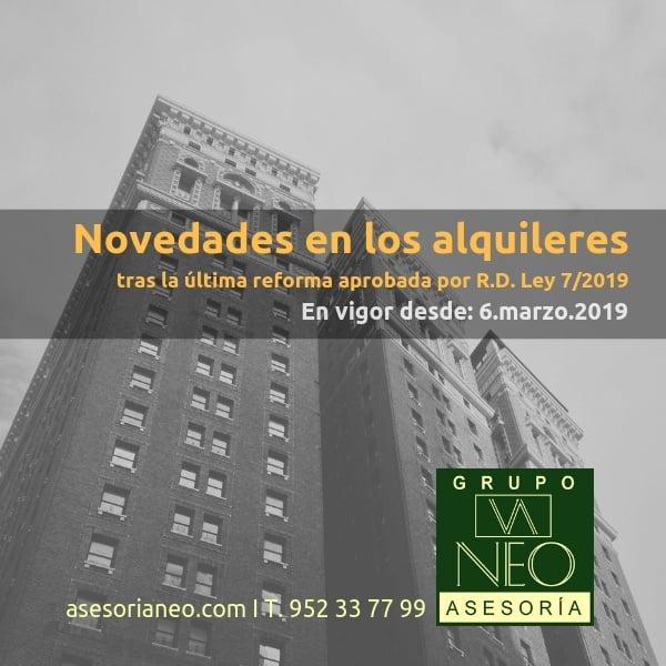 Novedades en los alquileres marzo 2019 | Real Decreto-ley 7/2019