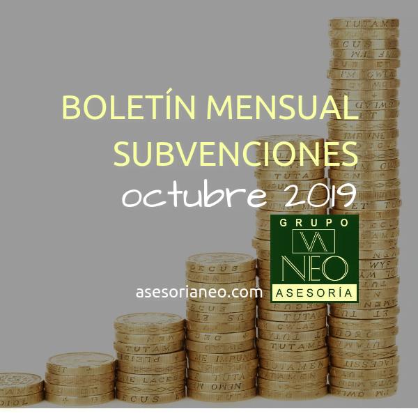 Boletín subvenciones empresas y autónomos Andalucía | OCTUBRE 2019