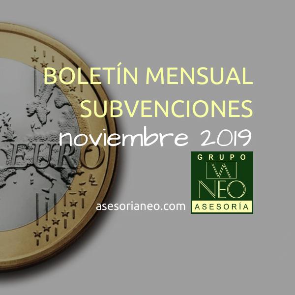 Boletín subvenciones empresas y autónomos Andalucía | NOVIEMBRE 2019