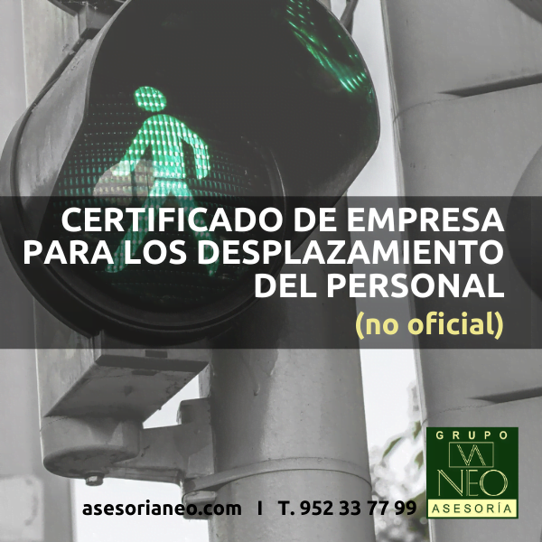 certificado para desplazamientos del personal