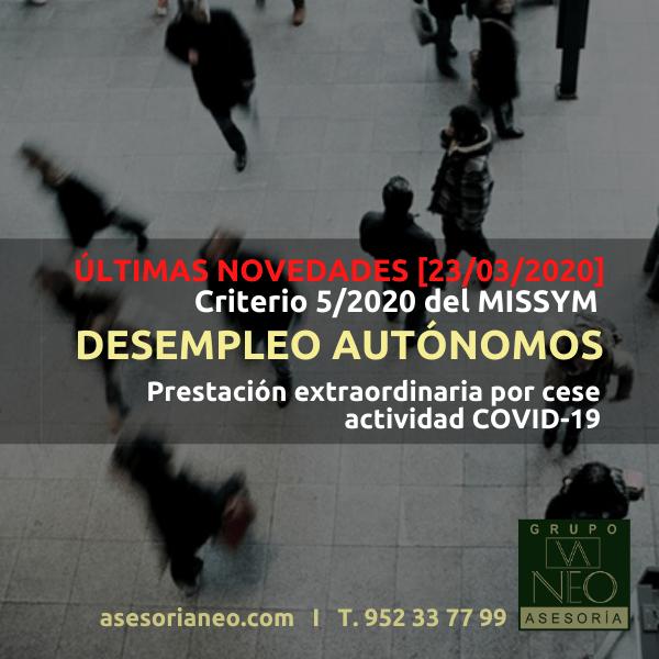 Novedades desempleo autónomos COVID-19 [23/03/2020]