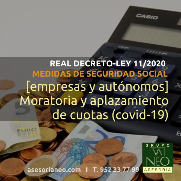 Medidas Seguridad Social [empresas y autónomos] Real Decreto-ley 11/2020: Moratoria y aplazamiento cuotas
