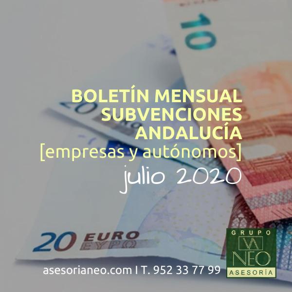 Boletín subvenciones empresas y autónomos Andalucía | JULIO 2020
