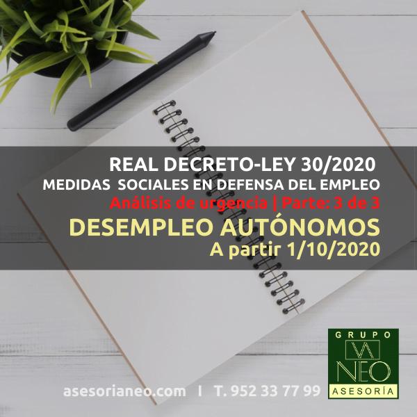 Desempleo autónomos a partir de octubre 2020 (RDL 30/2020)