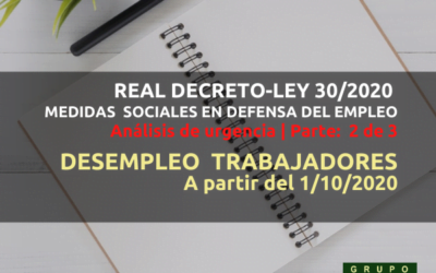 Desempleo trabajadores a partir de octubre 2020 (RDLey 30-2020)