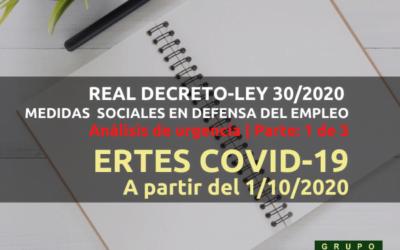 Prórroga ERTES COVID-19 a partir del 1 octubre 2020
