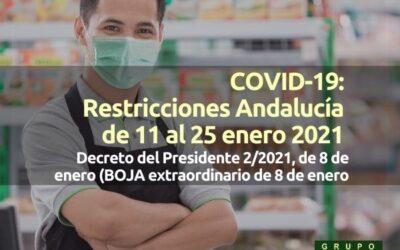 COVID-19: Restricciones Andalucía de 11 al 25 enero 2021