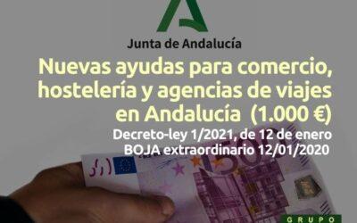 Nuevas ayudas para comercio, hostelería y agencias de viajes en Andalucía (Decreto-ley 1/2021)