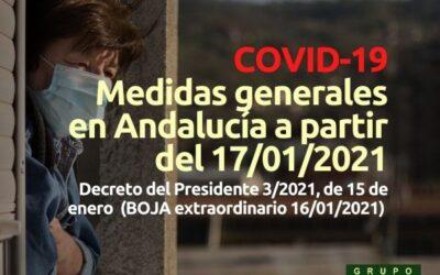 COVID: Medidas en Andalucía desde 17 de enero de 2021