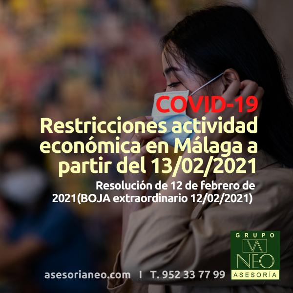 Restricciones actividad económica en Málaga desde 13/02/2021