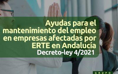 Ayudas al mantenimiento del empleo en empresas afectadas por ERTE en Andalucía