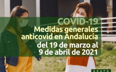 Medidas generales Covid Andalucía (19 marzo a 9 abril 2021)