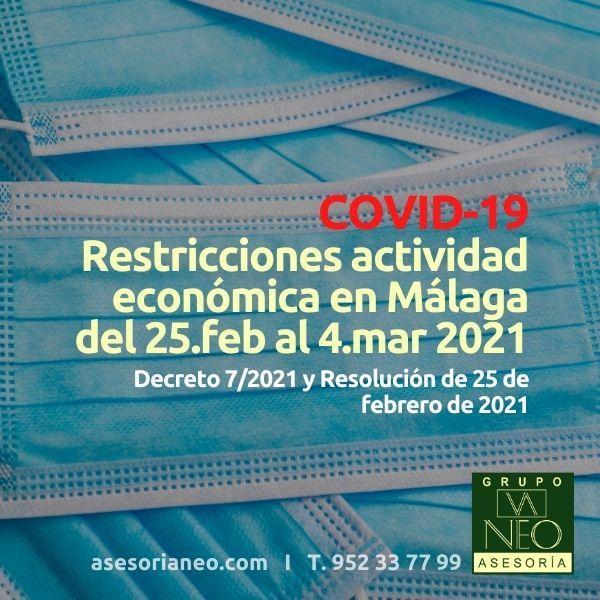 Restricciones actividad económica Málaga (25.feb/4.mar-2021)