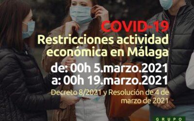 Restricciones actividad económica Málaga (00h del 5 al 19.mar.21)
