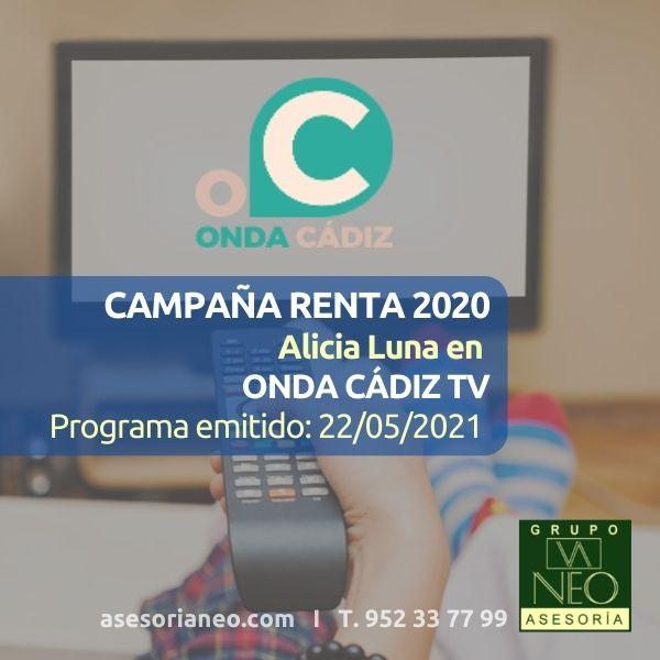 Renta 2020: Intervención de Alicia Luna en Onda Cádiz TV (22/05/2021)