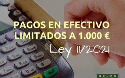 Pagos en efectivo limitados a 1.000 euros