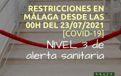 Málaga pasa a nivel 3 de alerta sanitaria (23 julio 2021)