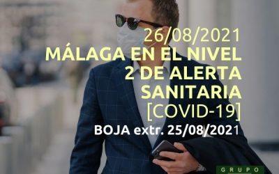 Málaga en el nivel 2 de alerta sanitaria (26/08/2021)