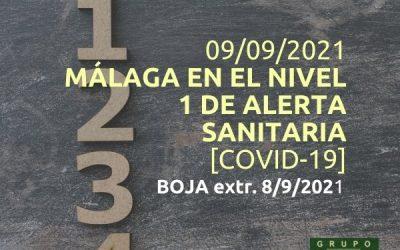 Málaga en el nivel 1 de alerta sanitaria (9/9/2021)