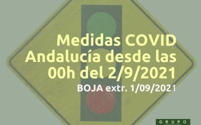 Medidas COVID en Andalucía desde el 2/9/2021
